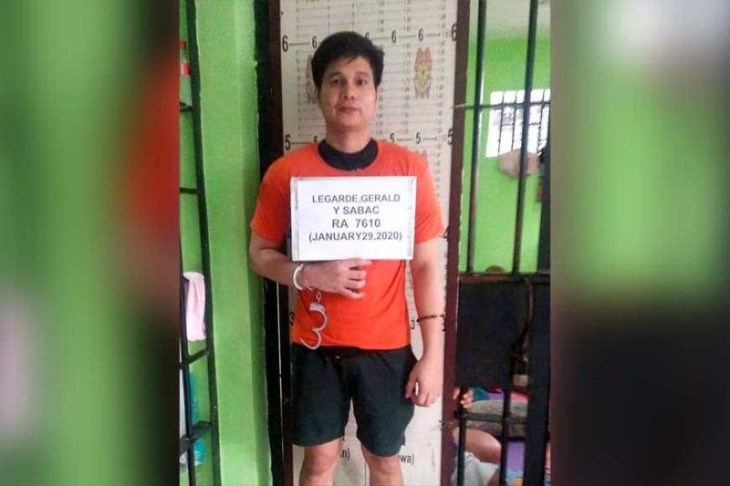 RAPE: Si Gerald Sabac Legarde gidakop sa kapulisan sa tulo ka mga kasong rape, kinsang biktima menor pa. (Tampo sa CMFC)