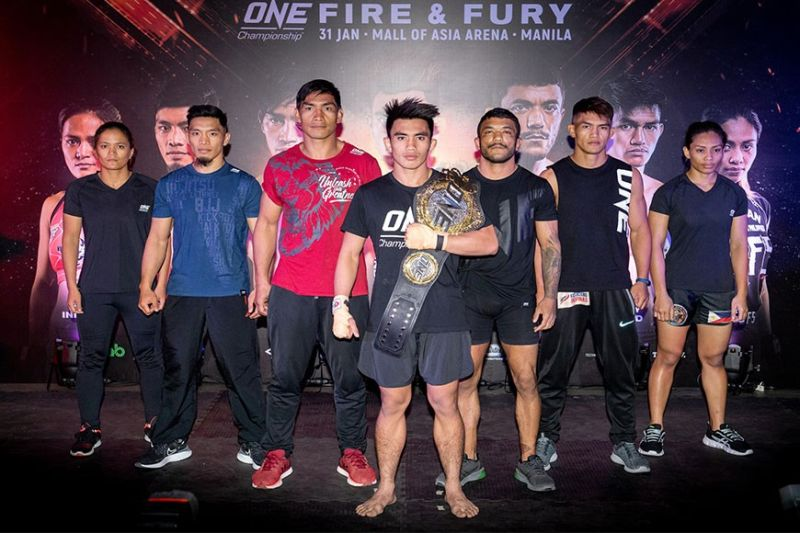 PROTAGONISTS. One Championship fighters led by reigning strawweight world champion Joshua Pacio vowed to go all out heading into tonight's Fire & Fury at the Mall of Asia Arena. (ONE Championship photo)