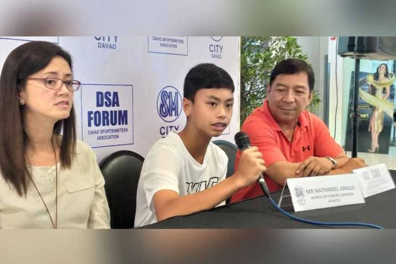 DAVAO. Christian Nathaniel Angus, center, during the Davao Sportswriters Association (DSA) Forum at The Annex of SM City Davao Thursday, January 30, says he targets to reach the finals of the 2020 ITF World Junior Tennis Competition (Asia/Oceania Qualifying Zone) in Jakarta, Indonesia. (Marianne L. Saberon-Abalayan)
