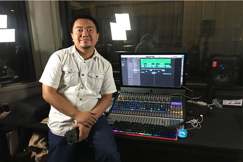DAVAO. Jeremy Sarmiento inside the technical booth of his recording studio in Damosa, Lanang, Davao City. (Photo by Roberto A. Gumba Jr.)
