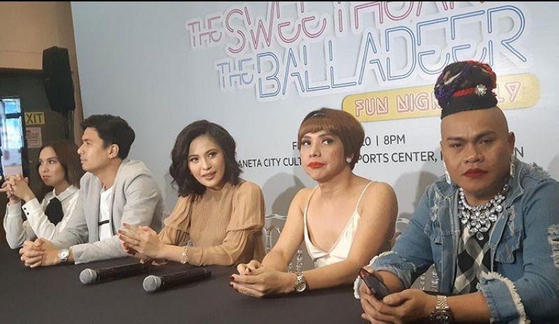 MANILA. The cast of The Sweetheart and The Balladeer concert: (from left) Kyline Alcantara, Christian Bautista, Julie Anne San Jose, Donita Nose and Super Tekla. (Edmund Silvestre)