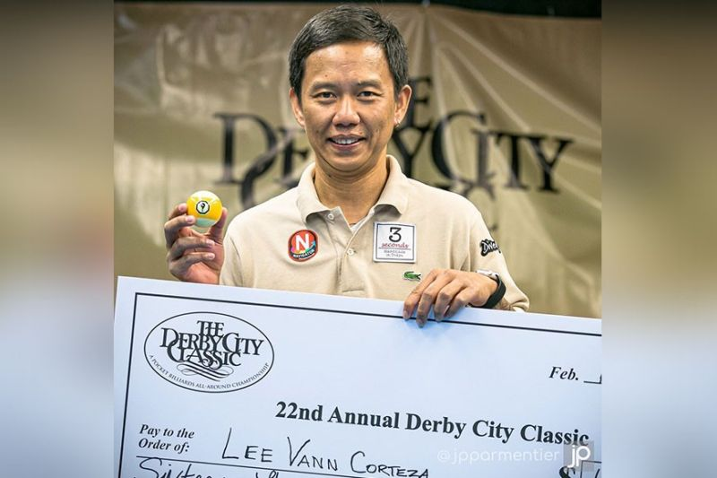 """USA. Lee Vann """"The Slayer"""" Corteza of Davao City wins the 9-ball title of the 22nd Annual Derby City Classic at the Caesars Southern Indiana Casino and Hotel in Southern Indiana, USA on February 2. (JP Parmentier Facebook)"""