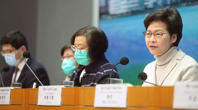 HONG KONG. Hong Kong Chief Executive Carrie Lam speaks during a press conference held in Hong Kong, Monday, February 3, 2020. Lam says the city will shut almost all land and sea border control points to the mainland from midnight to stem the spread of the novel coronavirus from China. (AP)