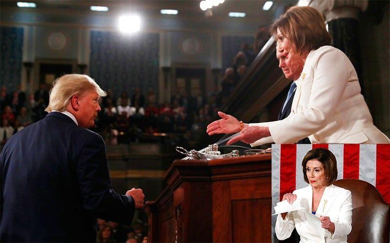 Trump refuses handshake with Nancy Pelosi; inset photo: Nancy Pelosi ripping copy of Trump's speech. (AP photos)