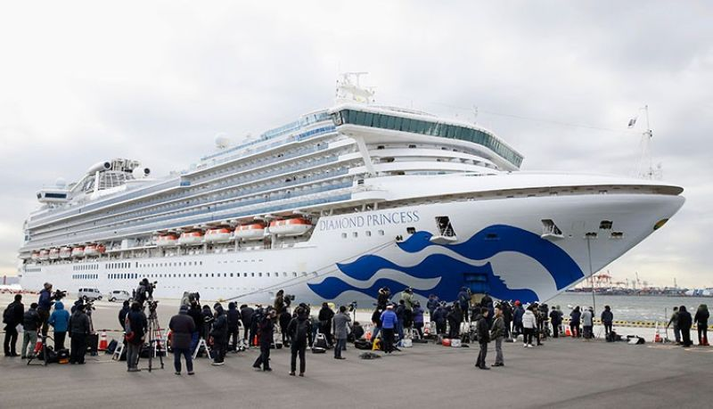 JAPAN. The cruise ship Diamond Princess is anchored at Yokohama Port for supplies replenished in Yokohama, south of Tokyo, Thursday, February 6, 2020. The 3,700 people on board faced a two-week quarantine in their cabins. (AP)
