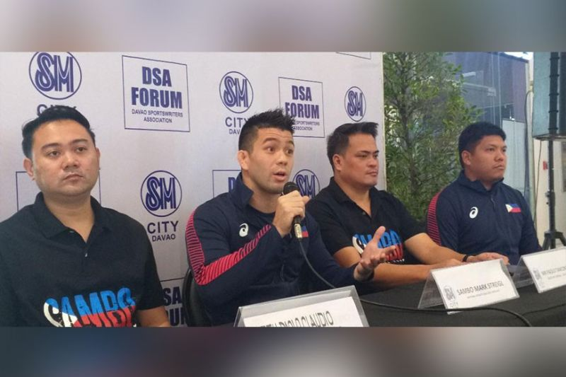 DAVAO. Southeast Asian (SEA) Games 2019 sambo gold medalist Mark Striegl, second from left, is here to promote sambo in the grassroots in an exhibition and seminar set today at Iflex Gym. He is joined by Pilipinas Sambo president Paolo Claudio, from left, secretary-general Paolo Tancontian and national coach Ace Larida during the Davao Sportswriters Association (DSA) Forum at The Annex of SM City Davao Thursday, February 5. (Marianne L. Saberon-Abalayan)