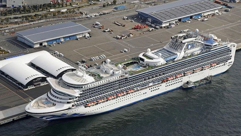 The cruise ship Diamond Princess is docked at Yokohama Port, near Tokyo, Friday, Feb. 7, 2020. Japan on Friday reported 41 new cases of a virus on the cruise ship that's been quarantined. About 3,700 people have been confined aboard the ship. (AP)