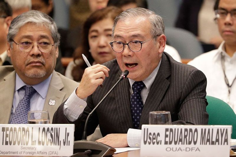 MANILA. Philippine Secretary of Foreign Affairs Teodoro Locsin Jr. gestures during a Senate hearing in Manila, Philippines on Thursday, February 6, 2020. (AP)