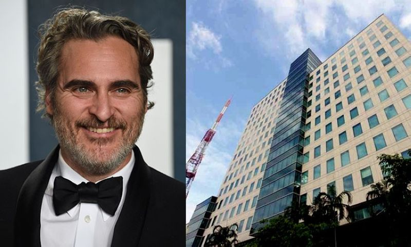 Actor Joaquin Phoenix (left) and facade of the ABS-CBN building in Manila. (AP/Wikimedia Commons)