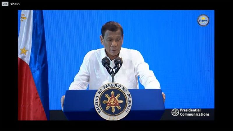 MANILA. President Rodrigo Duterte delivers his speech during the meeting with local chief executives on Monday, February 10, 2020. (Screenshot from RTVM video)