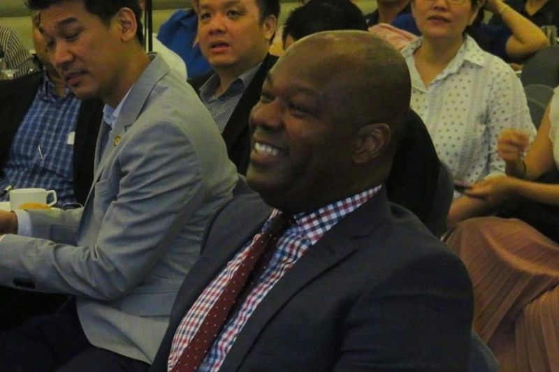 NEW DIRECT ROUTES. Andrew Acquaah-Harrison (foreground), chief executive advisor at GMR-Megawide Cebu Airport Corp. (GMCAC), says GMCAC is pursuing new markets to grow Cebu's international arrivals. (Sunstar Photo / Allan Cuizon)