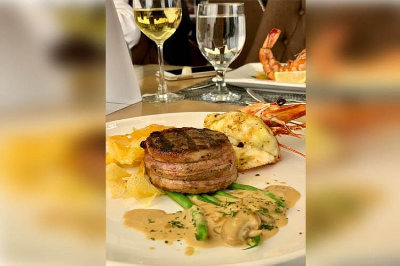 YIN & YOUNG. Fillet mignon with grilled prawn and crispy layered potatoes. (MRL photo)