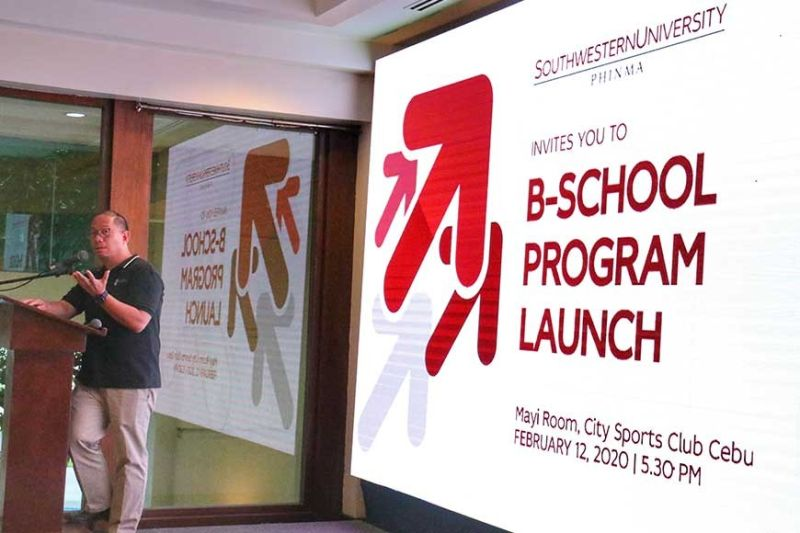 RESPON-SIVE TO INDUSTRY NEEDS. Southwestern University-Phinma president Chito Salazar delivers his message during the B-School launching Wednesday, Feb. 12, 2020 at the City Sports Club Cebu. Salazar said business graduates of today must be different and flexible.   (Sunstar Photo / Amper Campaña)