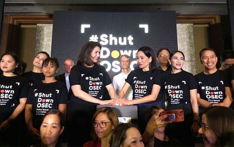 MANILA. Senator Risa Hontiveros and Tingog Sinirangan Partylist Representative Yedda Romualdez join the launching of Child Rights Network's #ShutdownOSEC campaign on February 11, 2020. (Photo from Child Rights Network Facebook page)