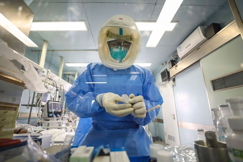 CHINA. Medical staff work in the negative-pressure isolation ward in Jinyintan Hospital, designated for critical Covid-19 patients, in Wuhan in central China's Hubei province Thursday, February 13, 2020. (AP)