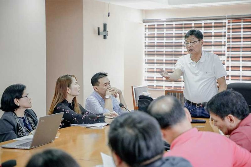 PAMPANGA. Mayor Edwin Santiago leads the post conference initiated on February 12, 2020 to discuss necessary actions to contain and prevent the wider transmission of emerging infectious disease including Covid-19. (Contributed photo)