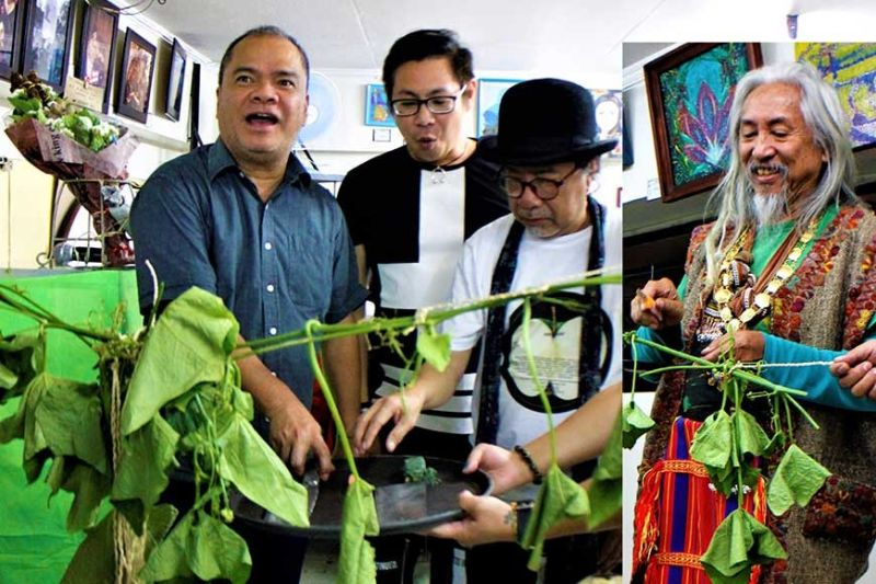 BAGUIO. Sayote vine cutting ceremonies by National Artist for Film Kidlat Tahimik, Tourism Officer Engr. Alec Mapalo, UP Chancellor Raymundo Rovillos and Visual Artist Benjie Mallari. (Contributed photo)