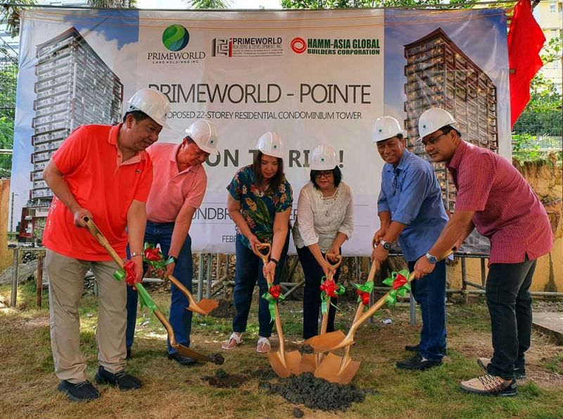 NEW HOME ADDRESS. (From left) Alex Tan, Johnny Ang, Carolyn Tan, Nelba Pangilinan, Eric Cinco and Arnel Gabriel Wong lead the groundbreaking of Primeworld Pointe on Saturday, Feb. 15, 2020. (SUNSTAR FOTO / ARNI ACLAO)