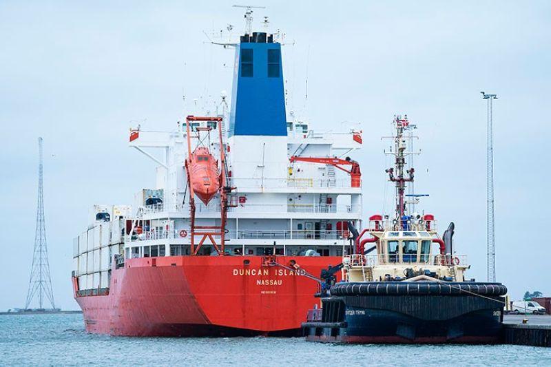 DENMARK. The cargo ship Duncan Island in Kalundborg Harbour in Denmark on Sunday, February 16, 2020. (AP)