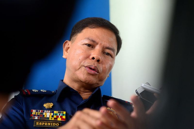 ILOILO. Lieutenant Colonel Jovie Espenido agrees to be interviewed at the Police Regional Office Western Visayas (PRO-6) grandstand Thursday morning, February 20, 2020, despite a gag order from the Philippine National Police chief. (Photo by Leo Solinap)