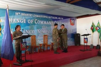 "CAGAYAN DE ORO. Change of command ceremony ngadto kang outgoing 58th Infantry ""Dimalulupig"" Battalion Commander Lieutenant Colonel Roy Anthony Derilo ug incoming battalion commander Lieutenant Colonel Ricky Canatoy. (Steph V. Berganio)"