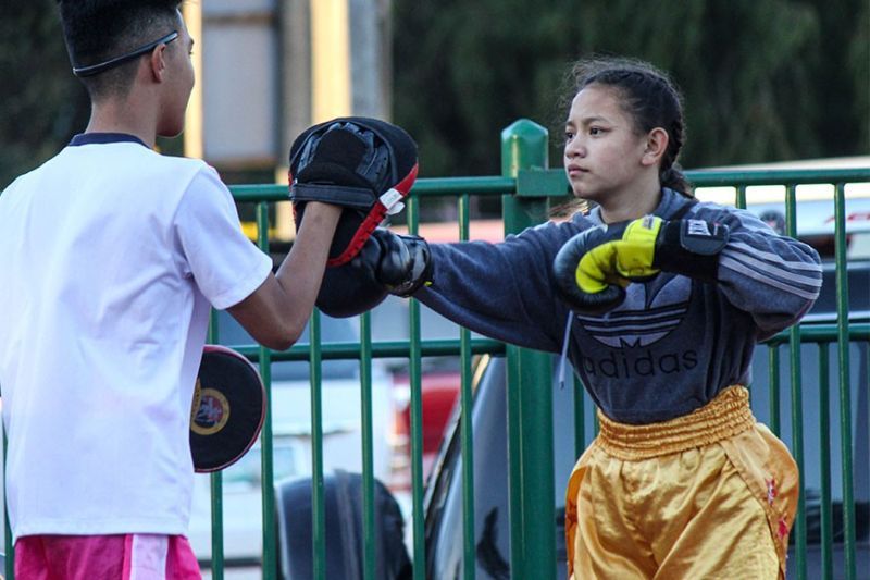 BAGUIO. Maria Isabel Malijana gears for the upcoming CARAA sports meet hosted by Baguio City. Malijana, a grade 8 student from Pines City National High School will be competing in the 46kg division in Muay Thai. (Photo by Jean Nicole Cortes)