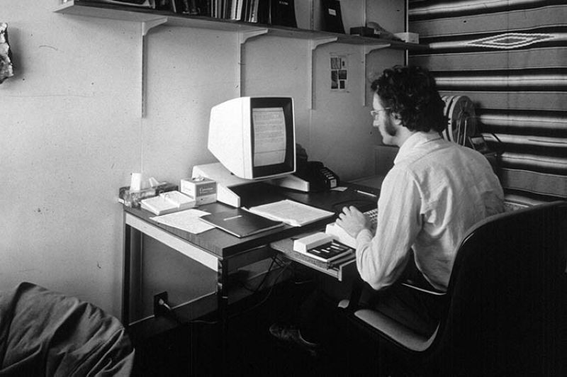"In this 1970s photo provided by Xerox PARC, Larry Tesler uses the Xerox Parc Alto early personal computer system. Tesler, the Silicon Valley pioneer who created the now-ubiquitous computer concepts such as ""cut,"" ""copy"" and ""paste,"" has died. He was 74. (AP photo)"