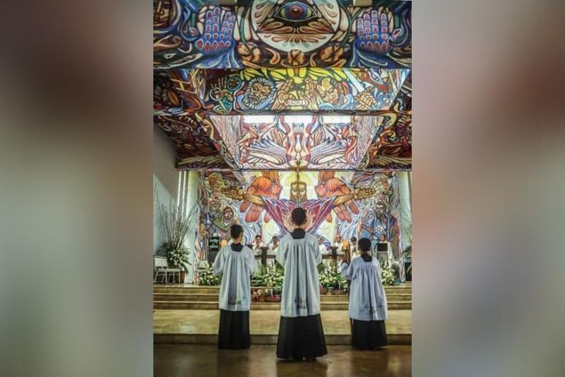 "BACOLOD. Inside the chapel of St. Joseph the Worker, which is more popularly known as the Church of the Angry Christ because of the sanctuary mural, ""The Last Judgment,"" painted by Alfonso Ossorio. (Contributed Photo)"