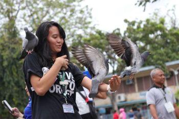 DAVAO. Nalingaw sa pagpakaon sa mga kalapati kining usa ka babaye didto sa Rizal Park sa dalang San Pedro, Siyudad sa Davao. Makita sa iyang hitsura ang kalingaw samtang nagtungtong sa iyaha ang mga kalapati. (Mark Perandos)