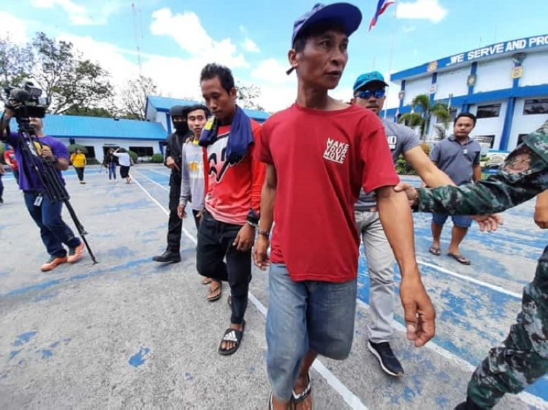CEBU. Three  alleged members of the New People's Army reportedly involved in the ambush-slay of four policemen in Ayungon town, Negros Oriental last year were arrested by Cebu authorities on Monday, February 24, 2020. (Photo by Arnold Bustamante)