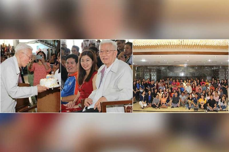 FOUNDER'S BIRTHDAY. Ambassador Francisco Benedicto celebrates his birthday with family led by Lilian Huan, faculty and students.