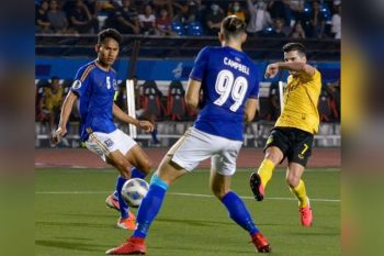 BACOLOD. Bienvenido Marañon (7), who scored a brace against Cambodia's Preah Khan Reach Svay Rieng FC last February 11, is expected to deliver another great game tonight. (Mymy Alagaban Photo)