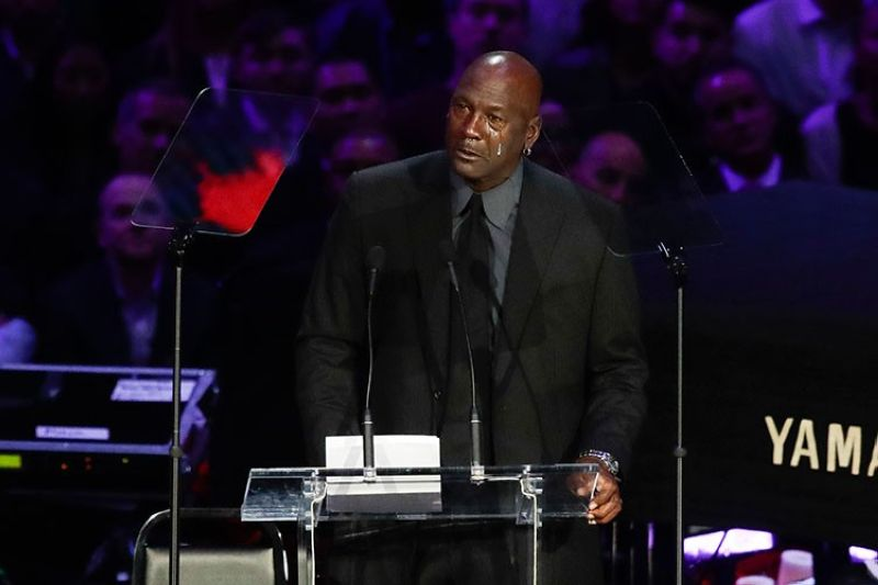USA. Former NBA player Michael Jordan cries while speaking during a celebration of life for Kobe Bryant and his daughter Gianna Monday, February 24, 2020, in Los Angeles. (AP)