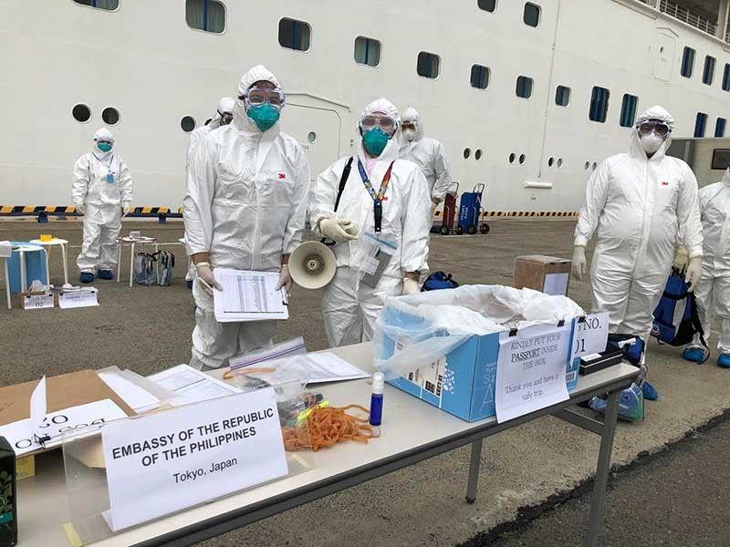 JAPAN. Philippine officials and medical team are facilitating the disembarkation of over 400 Filipinos from the coronavirus-hit cruise ship MV Diamond Princess in Yokohama, Japan on February 25, 2020. (Photo from DFA)
