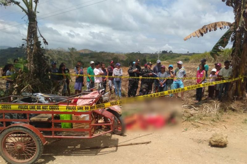 NEGROS. Police cordon off the crime scene following the shooting incident that killed a pastor in Sitio Pinus-an, Barangay Camindangan, Sipalay City Tuesday, February 25, 2020. (NOCPPO Photo)