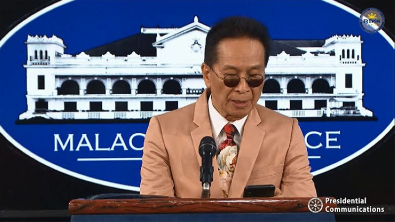 MANILA. Presidential spokesperson Salvador Panelo in a press briefing in Malacanang Wednesday, February 26, 2020. (Screenshot from RTVM video)