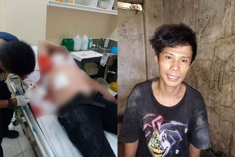 BACOLOD. Cops arrest 27-year-old suspect Ray Jan Carmelote (right) for stabbing dead a grade 11 student (left) of VMA Global College in front of school Wednesday morning, February 26, 2020. (BCPO Photo)