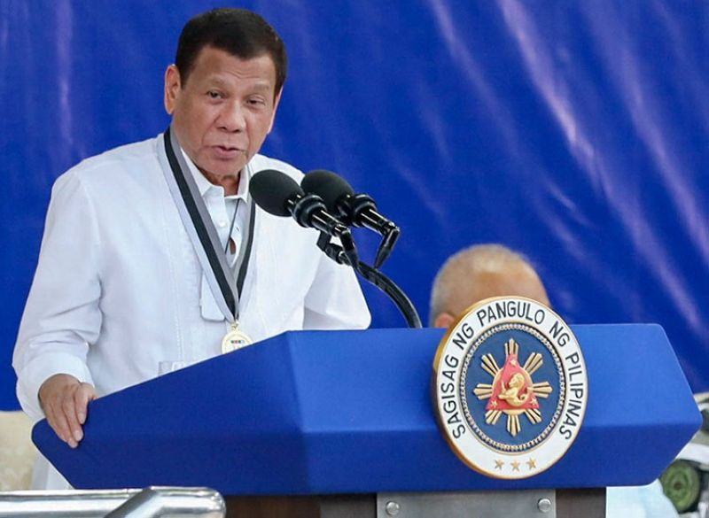 MANILA. In this February 25, 2020 photo provided by the Malacanang Presidential Photographers Division, Philippine President Rodrigo Duterte delivers his speech during the Presidential Security Group Change of Command ceremony at the PSG Compound in Malacañang Park, Manila. (AP)