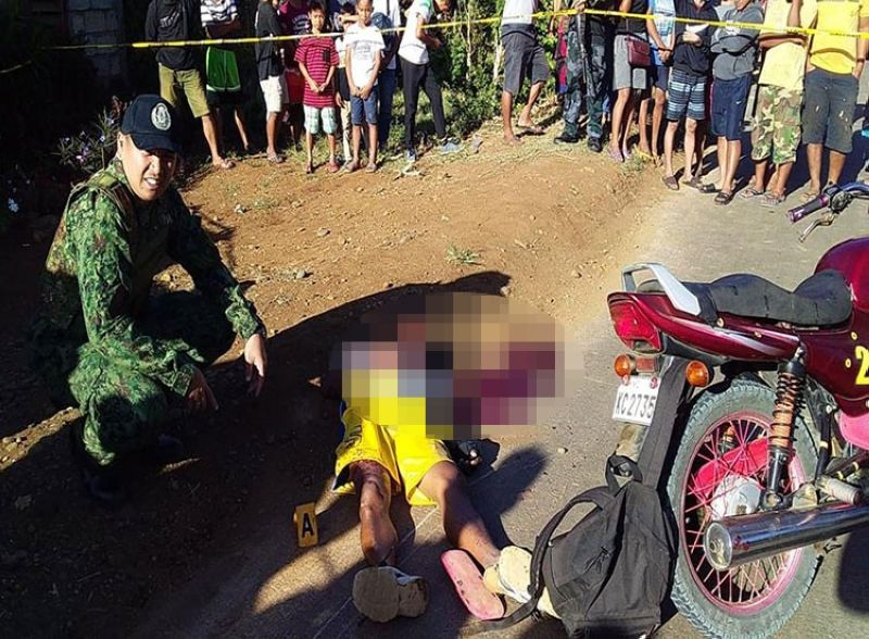 BUKIDNON. A motorcycle-for-hire driver was killed, while his two minor passengers were hurt in a gun attack in Quezon, Bukidnon early Wednesday, February 26, 2020. (Photo courtesy of Bukidnon Police Provincial Office)