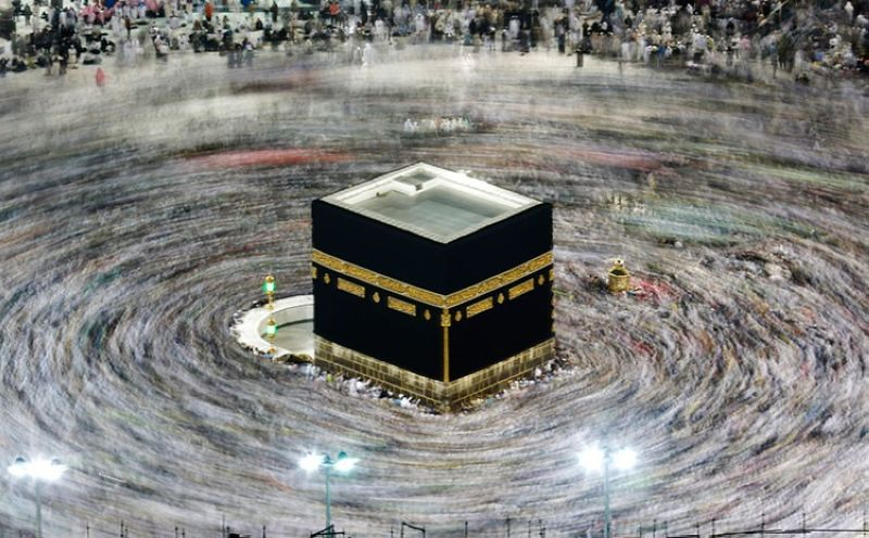 SAUDI ARABIA. In this August 13, 2019 file photo taken with a slow shutter speed, Muslim pilgrims circumambulate the Kaaba, the cubic building at the Grand Mosque, during the hajj pilgrimage in the Muslim holy city of Mecca, Saudi Arabia. (AP)
