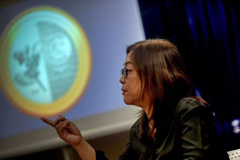 ILOILO. Bangko Sentral ng Pilipinas Iloilo Deputy Director Joanne Marie Castelo announces the new P20 coin that is now on circulation during a press conference at the BSP Iloilo Thursday, February 27, 2020. (Leo Solinap)