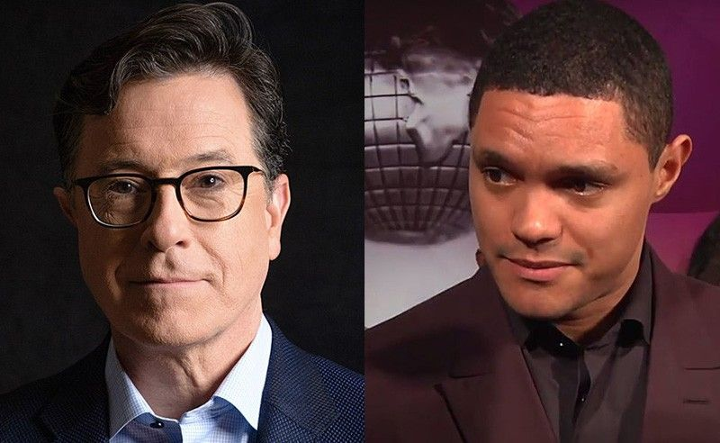 (File photos of Stephen Cobert and Trevor Noah)