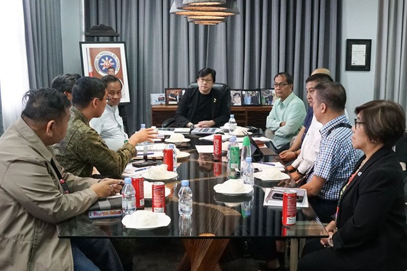MEETING. Presidential Assistant for the Visayas Michael Lloyd Dino (at the head of the table) presides the meeting with the representative of the member-agencies of the Regional Task Force to End Local Communist Armed Conflict on Feb. 11, 2020. (Contributed Photo )