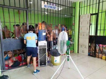CEBU. Naghuot na ang prisohan sa Cebu City Police Office tungod sa kadaghang nadakpan sa anti-illegal gambling operations sukad nideklara ang Police Regional Office  Central Visayas og gubat batok sa sugal. (Photo by Arnold Bustamante)