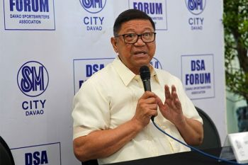 DAVAO. Philippine Sports Commission (PSC) Chairman William Ramirez, during the Davao Sportswriters Association (DSA) Forum at The Annex of SM City Davao Thursday, February 27, 2020 says Filipino athletes continue to train and compete to earn Tokyo 2020 Olympic berths while they are awaiting for any advisory from the International Olympic Committee whether the Games will be pushed through amid the coronavirus disease (Covid-19) outbreak. (Photo by Macky Lim)