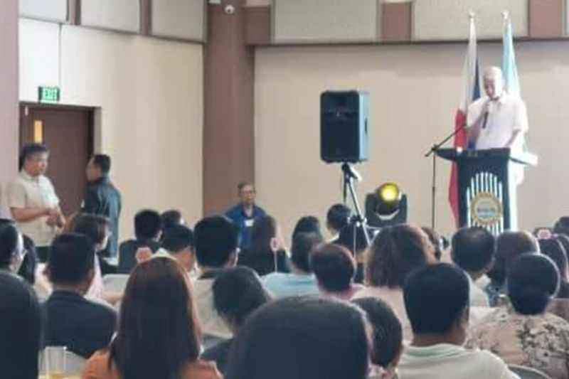 BACOLOD. Cong. Jose Francisco B. Benitez addressing the attendees at the water summit. (Photo by Carla N. Cañet)