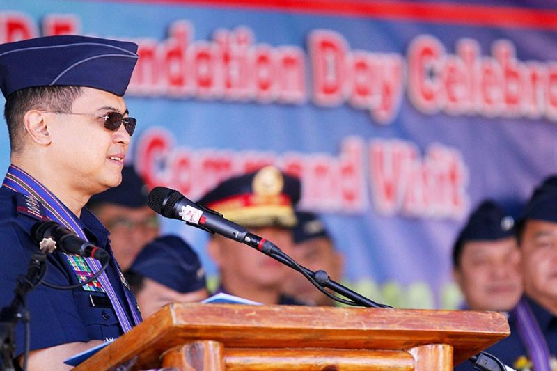 BENGUET. Philippine National Police Chief General Archie Gamboa delivers his message to personnel of the Police Regional Office Cordillera during his visit last week at Camp Bado Dangwa in La Trinidad, Benguet. (Photo by JJ Landingin)