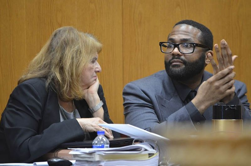 Defense attorney Alison Steiner, left, confers with her client, Willie Cory Godbolt, Wednesday, Feb. 26, 2020, on Day 11 during the penalty phase of his capital murder trial at the Pike County Courthouse in Magnolia, Miss. Godbolt, 37, is on trial, for the May 2017 shooting deaths of eight people in Brookhaven. <b>(AP photo)</b>