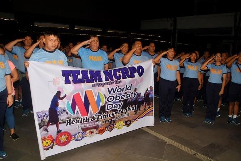 Around 1,200 National Capital Regional Police Office personnel join the FitFil World Obesity Day Health and Fitness Festival on Saturday, February 29 in Taguig City.(Photos by NCRPO)