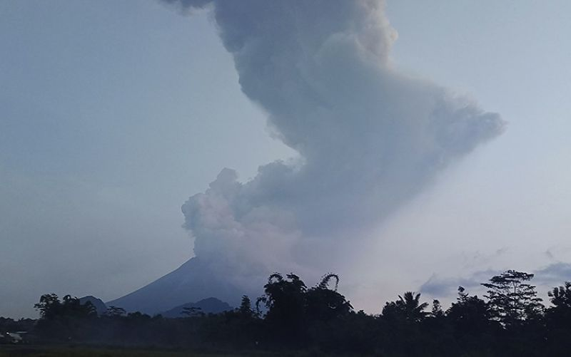 Mount Merapi spews volcanic material into the air in Sleman, Indonesia, Tuesday, March 3, 2020. Indonesia's most active volcano erupted Tuesday, spewing sand and pyroclastic material and sending massive smoke-and-ash column into the sky. <b>(AP Photo)</b>